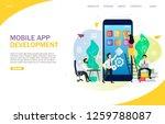 mobile app development landing... | Shutterstock .eps vector #1259788087