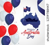 happy australia day with map... | Shutterstock .eps vector #1259788447