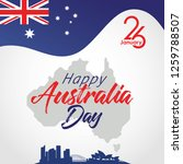happy australia day with map... | Shutterstock .eps vector #1259788507