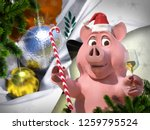 happy new year pink pig against ... | Shutterstock . vector #1259795524