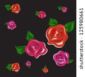 red and pink roses with petals... | Shutterstock .eps vector #125980661