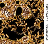seamless pattern with golden... | Shutterstock .eps vector #1259824351