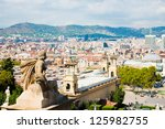Aerial view of Barcelona from  National Palace - stock photo
