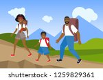 happy active family hiking in... | Shutterstock .eps vector #1259829361