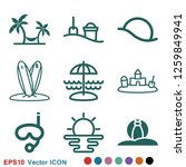 beach icon vector of vacation... | Shutterstock .eps vector #1259849941
