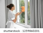 young chambermaid cleaning... | Shutterstock . vector #1259860201