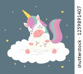 cute sleeping unicorn hugging a ... | Shutterstock .eps vector #1259891407