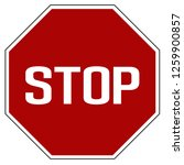 label stop road sign. | Shutterstock .eps vector #1259900857
