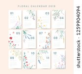Floral Calendar 2019 Vector Set