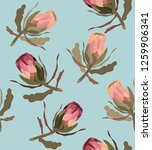 seamless pattern with protea... | Shutterstock .eps vector #1259906341