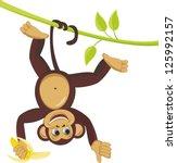 Monkey On Liana With Banana