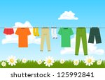 Stock vector illustration of clothes drying outdoor 125992841