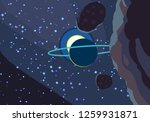 2d illustration. cartoon space... | Shutterstock . vector #1259931871
