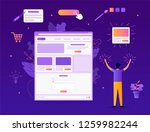 a man creates his own website.... | Shutterstock .eps vector #1259982244