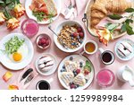 festive brunch or breakfast set ... | Shutterstock . vector #1259989984