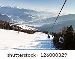 Ski resort in the Dolomites, South Tyrol, Italy. - stock photo