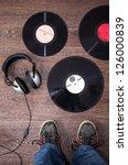 Dj Headphones And Vintage Vinyl