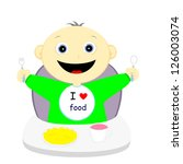 hungry child happy upcoming meal | Shutterstock .eps vector #126003074
