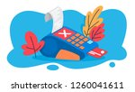pos terminal for payment by...   Shutterstock .eps vector #1260041611