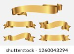 ribbon banner set.gold ribbons. | Shutterstock .eps vector #1260043294