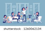 gathering of women for hen... | Shutterstock .eps vector #1260062134