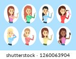 set of woman applying cosmetics ...   Shutterstock .eps vector #1260063904