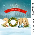 happy new year 2019 background... | Shutterstock .eps vector #1260075127