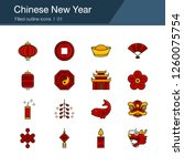 chinese new year icons. filled...
