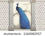 3d wallpaper  columns  peacock... | Shutterstock . vector #1260082927