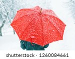 woman with red umbrella...   Shutterstock . vector #1260084661