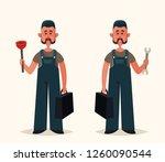 cute worker holding plunger.... | Shutterstock .eps vector #1260090544