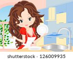 woman in a red dress in the...   Shutterstock .eps vector #126009935