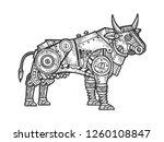 mechanical bull animal... | Shutterstock .eps vector #1260108847