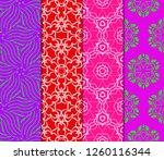 set of modern floral seamless... | Shutterstock .eps vector #1260116344