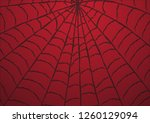 cobweb red background. vector... | Shutterstock .eps vector #1260129094