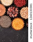 various superfoods in small... | Shutterstock . vector #1260133381