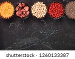 various superfoods in small... | Shutterstock . vector #1260133387