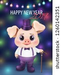 cute pig character. happy new... | Shutterstock .eps vector #1260142351