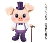 cute pig character. happy new... | Shutterstock .eps vector #1260143314