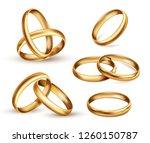 gold wedding rings set ... | Shutterstock .eps vector #1260150787