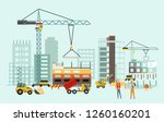builders on the construction... | Shutterstock .eps vector #1260160201