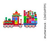 retro locomotive with gifts ... | Shutterstock .eps vector #1260169591