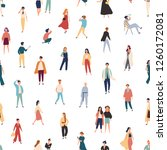 seamless pattern with people in ... | Shutterstock .eps vector #1260172081