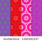 set of modern floral seamless... | Shutterstock .eps vector #1260181237