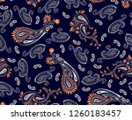 paisley pattern with flowers... | Shutterstock .eps vector #1260183457