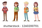 Stock vector set of girls and boys with school bags vector illustration 1260200701
