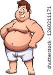 happy fat man in underwear.... | Shutterstock .eps vector #1260211171