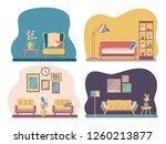 set interior of the living room ... | Shutterstock .eps vector #1260213877