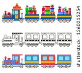 retro locomotive with cars on a ... | Shutterstock .eps vector #1260215254
