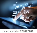 hand touching touch pad  social ... | Shutterstock . vector #126022781